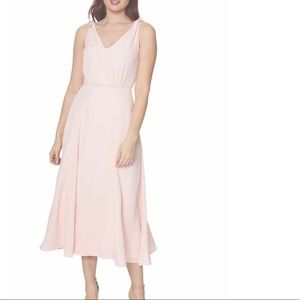 Betsey Johnson 4 Pink V Neck Dress Midi Bow Tie